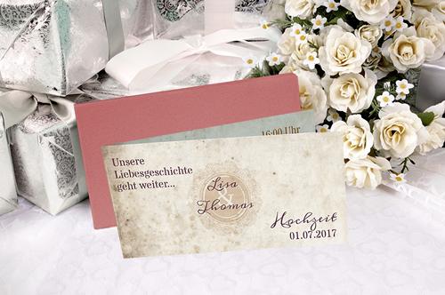 Hochzeitseinladung metallisch schimmernd